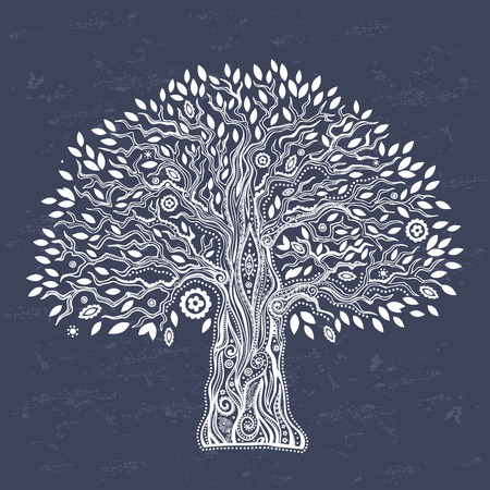 arbol de pino: Hermoso árbol étnico Único de ilustración vida