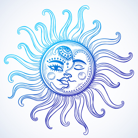 sun light: Sun, moon and stars vintage vector illustration
