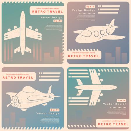 reise retro: Vector Retro Reise-Illustration mit einem Flugzeug und einem Vintage-Hintergrund Illustration