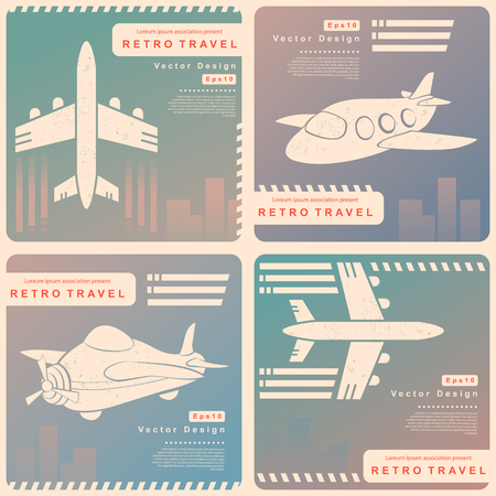 Vector Retro travel illustration with a plane and a vintage background