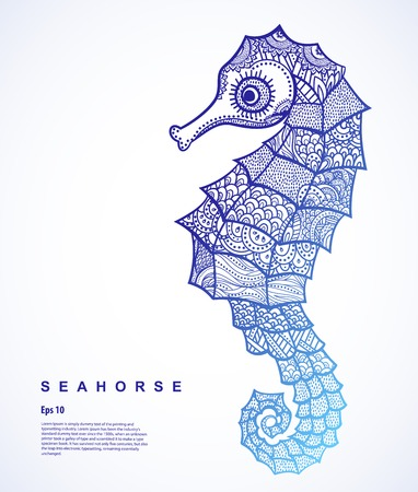 seahorse: Vector illustration of isolated Seahorse with ethnic ornaments Stock Photo