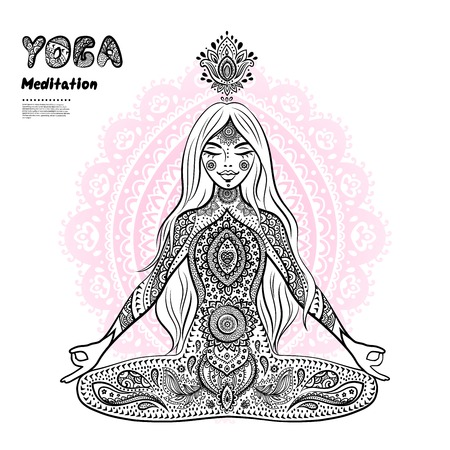 aura energy: vector illustration of a girl in a meditation pose