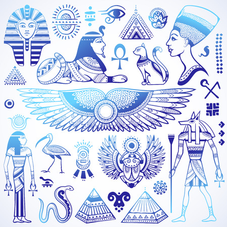 egyptian: Set of Vector isolated Egypt symbols and objects