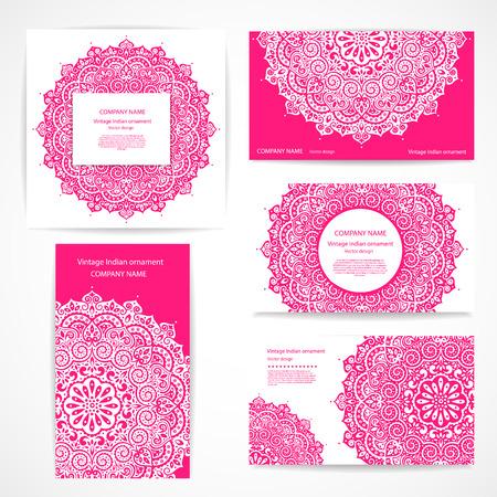 Conjunto de pancartas con adornos florales de la India puede ser utilizado como tarjetas de visita Foto de archivo - 43896566