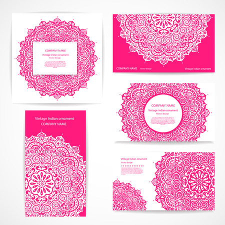 modern business: Set of banners with floral Indian ornaments can be used as a business cards
