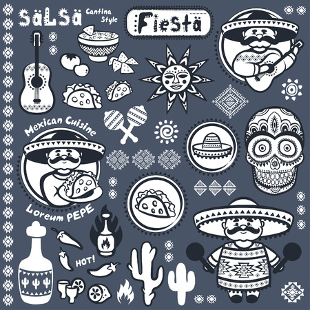 gitar: Set of Mexican vector symbols for your business Illustration