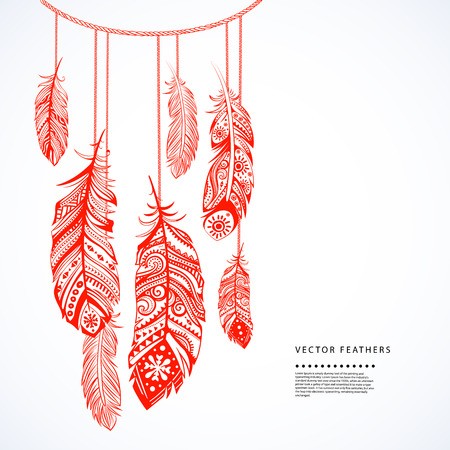 lightness: Vinatge ethnic tribal feather seamless for your business Illustration