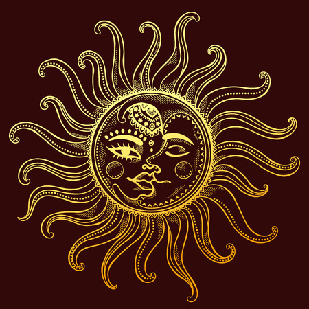 crescent: Sun, moon and stars vintage vector illustration