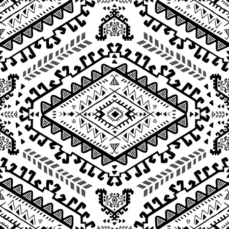 Vector Tribal Mexican vintage ethnic seamless pattern Stock Illustratie