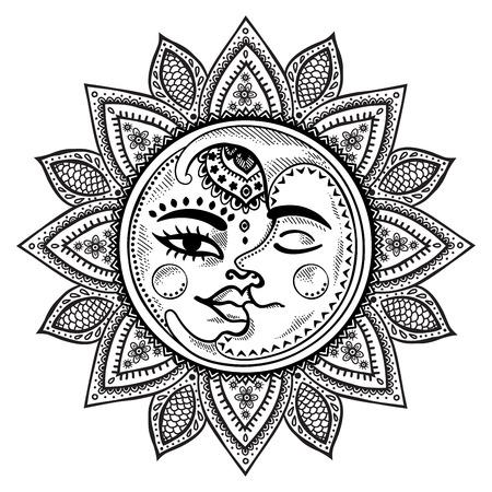 Sun, moon and stars vintage vector illustration