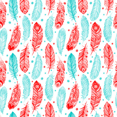 feathery: Vinatge ethnic tribal feather seamless for your business Illustration