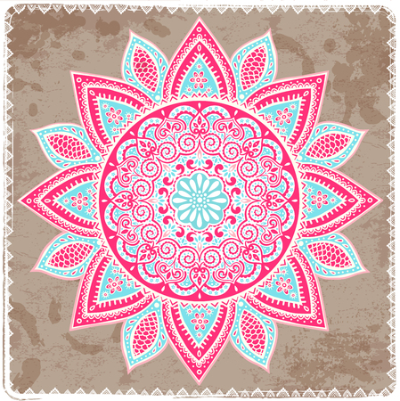 mandala: Beautiful Indian floral ornament can be used as a greeting card Stock Photo