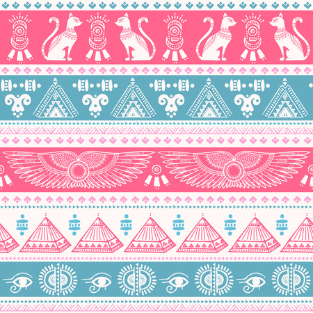 Vector tribal ethnic seamless pattern with Egypt symbols Vettoriali