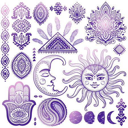 circle flower: Sun, moon and ornaments vintage vector isoalted set