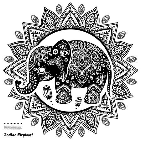 elefantes: Ilustración de elefante de la vendimia se puede utilizar como una tarjeta de felicitación