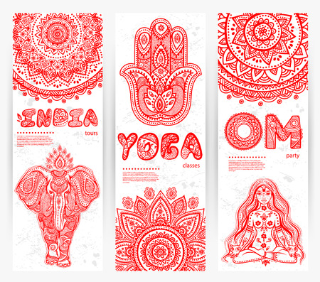aura sun: Vector set of banners with ethnic ornaments and yoga symbols