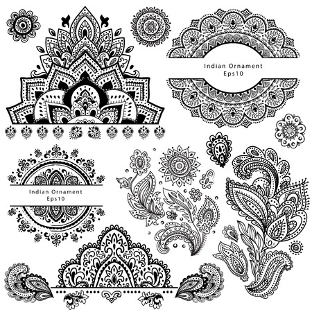 mandala: Set of ornamental Indian elements and symbols