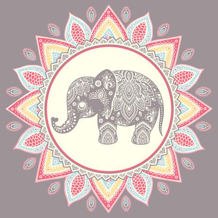 elefant: Weinlese-Elefant Abbildung kann als Grußkarte verwendet werden