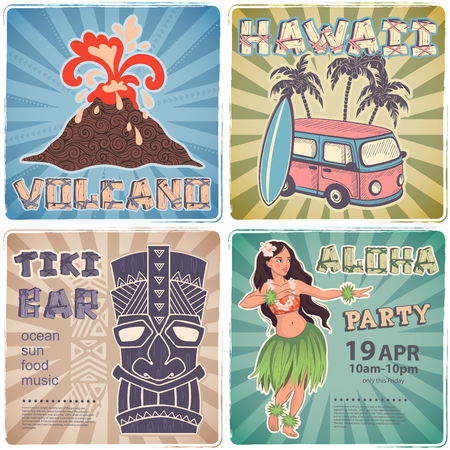 Vector Retro set of banners with  Hawaiian symbols Stock Illustratie