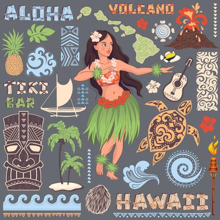 Vector vintage set d'icônes et de symboles hawaïennes