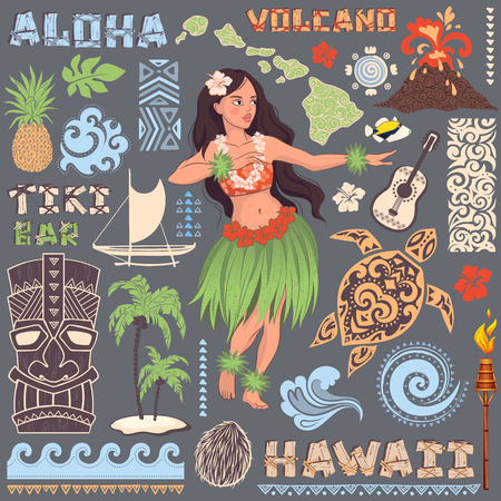 hula girl: Vector Vintage set of Hawaiian icons and symbols