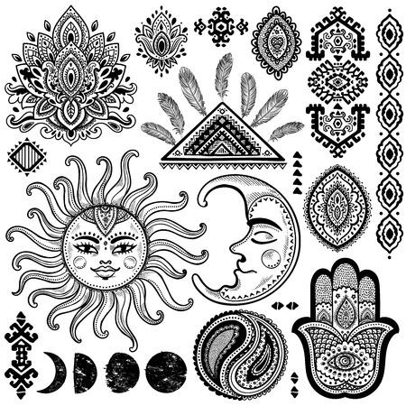 pluma: Sun, la luna y adornos vector vendimia isoalted establecido
