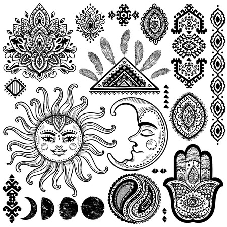 sun flowers: Sun, moon and ornaments vintage vector isoalted set