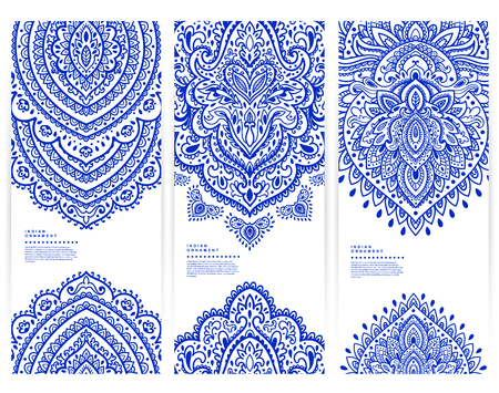 Set of banners with floral Indian ornaments can be used as a business cards