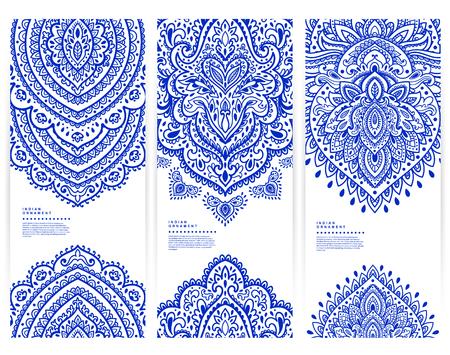 conjunto: Conjunto de pancartas con adornos florales de la India puede ser utilizado como tarjetas de visita