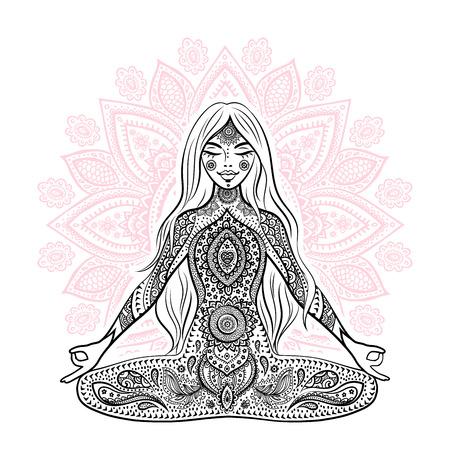 Ilustracja dziewczyny w medytacji ułożenia Ilustracje wektorowe