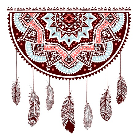 feathery: Ethnic American Indian Dream catcher can be used as a greeting card