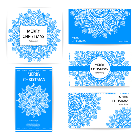 business card design: Set of banners with floral Indian ornaments can be used as a business cards