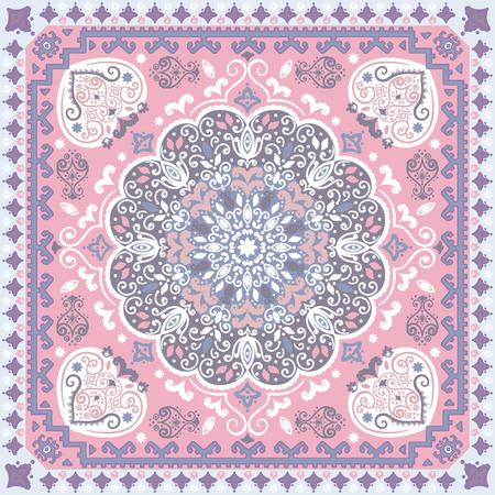 rug: Vintage vector Turkish rug style seamless pattern Illustration