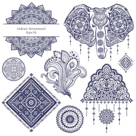 Insieme di elementi ornamentali e simboli indiani Archivio Fotografico - 45326814