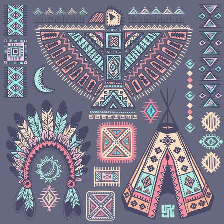 aguila americana: Vintage conjunto nativo americano tribal de los s�mbolos Vectores