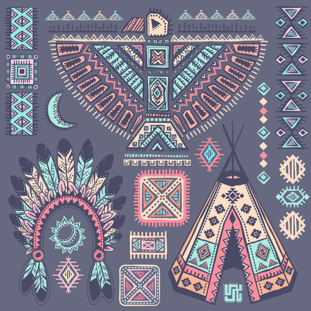 native bird: Vintage Tribal native American set of symbols