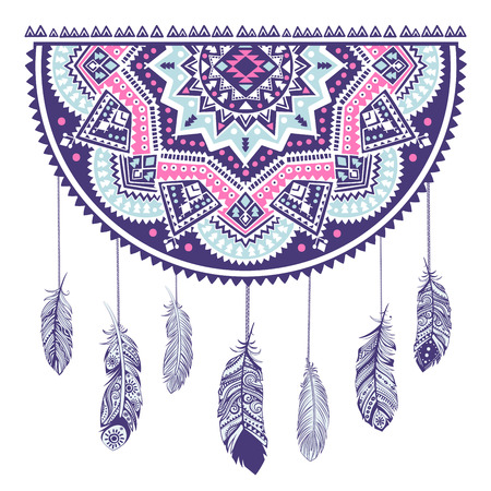 swelled: Ethnic American Indian Dream catcher can be used as a greeting card