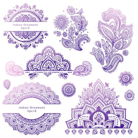 flor de loto: Conjunto de indios adornos florales. Mandala. Alheña Vectores