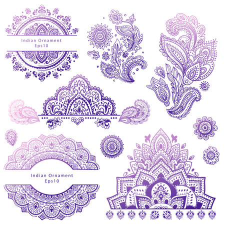 indian summer: Set of Indian floral ornaments. Mandala. Henna Illustration