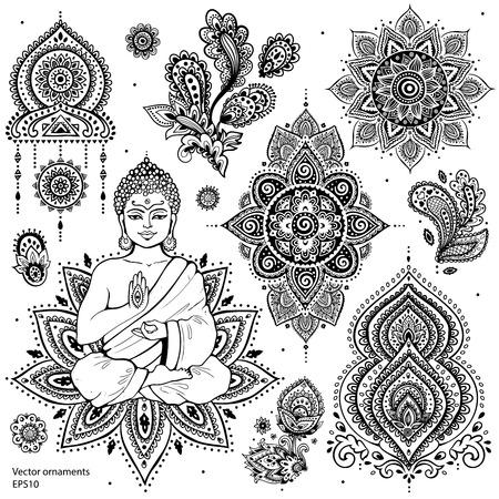 bouddha: Ensemble d'éléments et symboles indiens ornementales Illustration