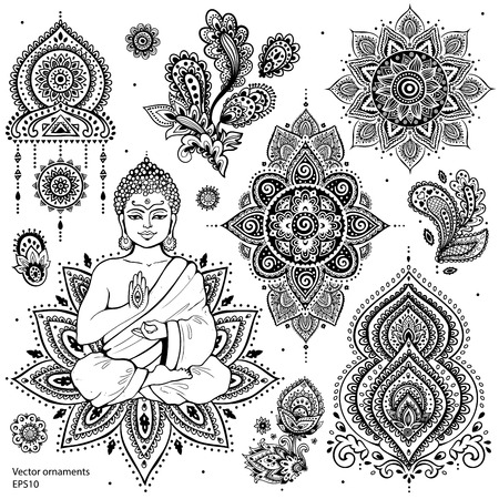 indian yoga: Set of ornamental Indian elements and symbols