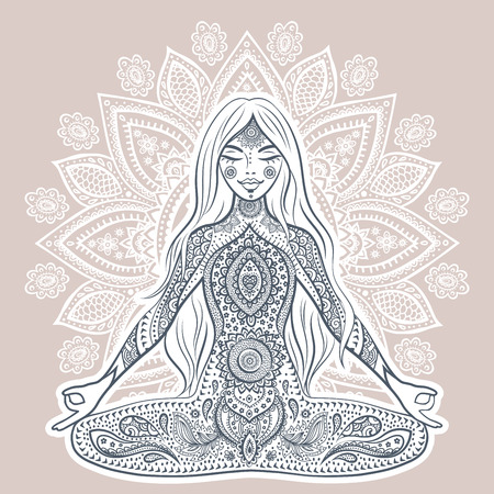 mandala: Vintage illustration with beautiful yoga girl.