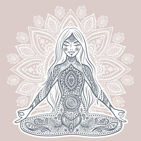 chakra: Vintage illustration with beautiful yoga girl.