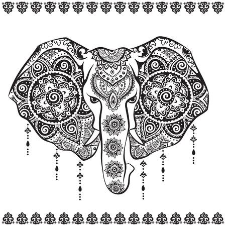 빈티지 코끼리 그림은 인사말 카드로 사용할 수 있습니다