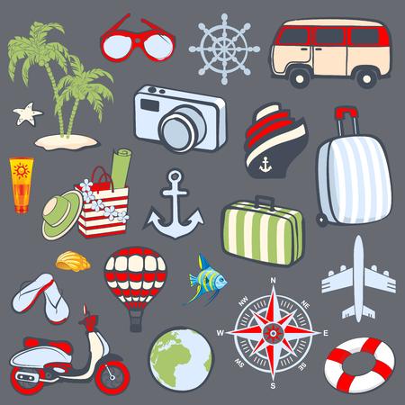 reise retro: Retro Reihe von Reise-Icons und Symbole Illustration