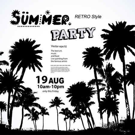 palm trees: Vector set of Vintage summer banners with palm trees Illustration