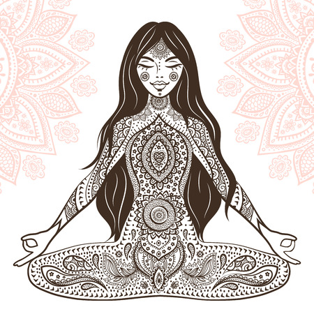 Vintage vector illustration with beautiful yoga girl. Illustration