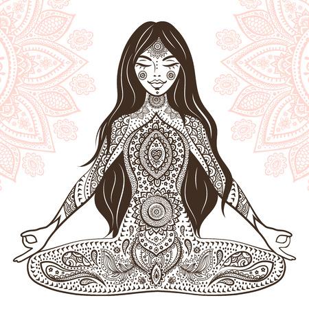 mantra: Vintage vector illustration with beautiful yoga girl. Illustration