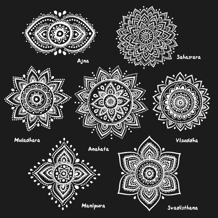 sahasrara: Isolated Set of beautiful ornamental 7 chakras