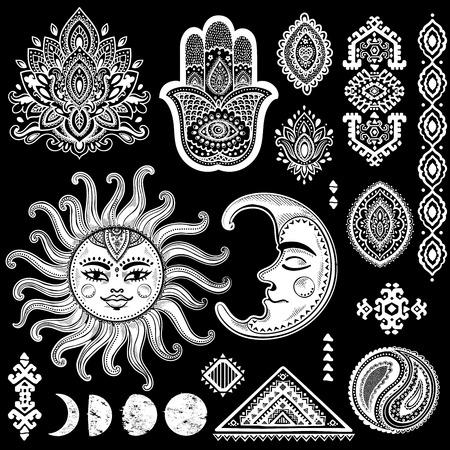 sonne mond und sterne: Sonne, Mond und Verzierungen Jahrgang Vektor isoalted eingestellt